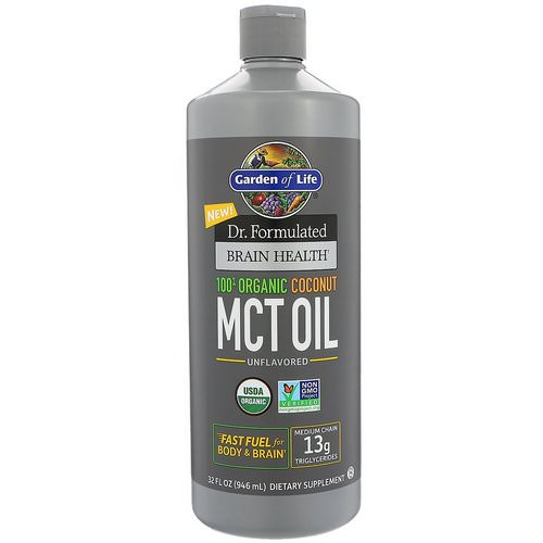 Garden of Life, Dr. Formulated Brain Health, 100% Organic Coconut MCT Oil, Unflavored, 32 fl oz (946 ml) Review