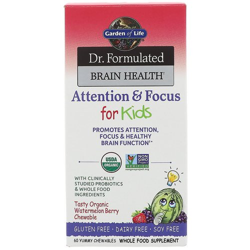 Garden of Life, Dr. Formulated Brain Health, Attention & Focus for Kids, Tasty Organic Watermelon Berry Flavor, 60 Yummy Chewables Review