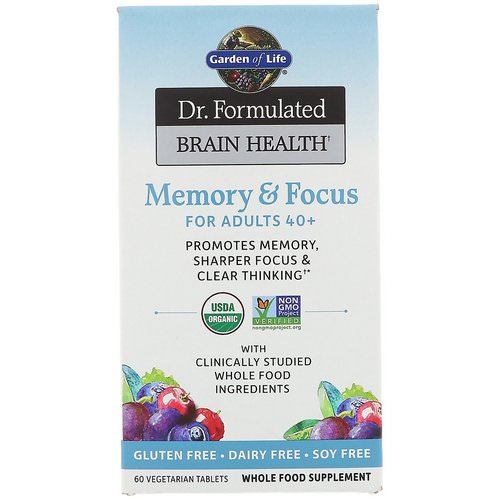 Garden of Life, Dr. Formulated Brain Health, Memory & Focus for Adults 40+, 60 Vegetarian Tablets Review
