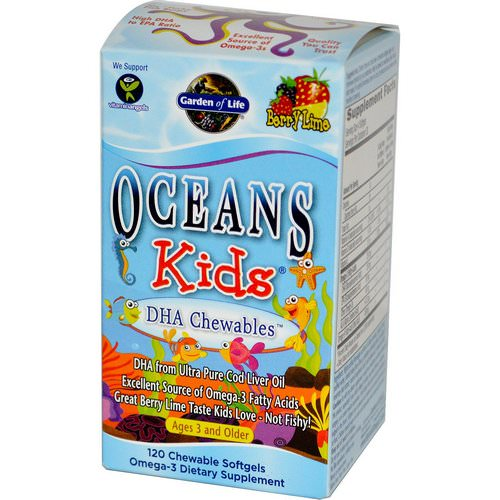 Garden of Life, Oceans Kids, DHA Chewables, Age 3 And Older, Berry Lime, 120 Chewable Softgels Review