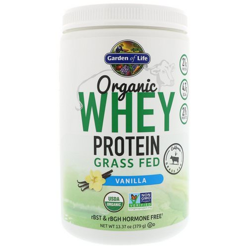 Garden of Life, Organic Whey Protein Grass Fed, Vanilla, 13.37 oz (379 g) Review