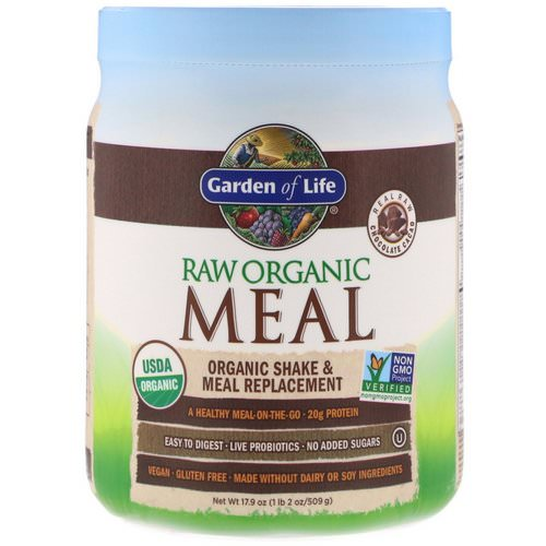 Garden of Life, RAW Organic Meal, Organic Shake & Meal Replacement, Chocolate Cacao, 1.1 lbs (509 g) Review