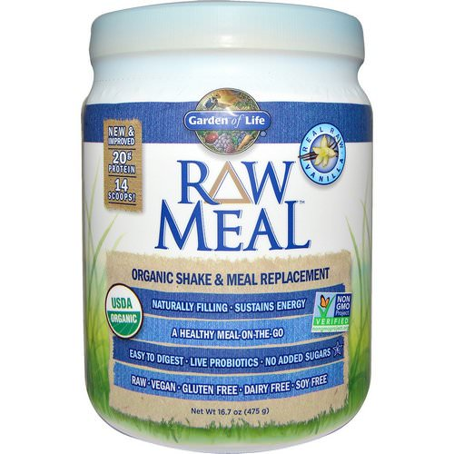 Garden of Life, RAW Organic Meal, Organic Shake & Meal Replacement, Vanilla, 16.7 oz (475 g) Review