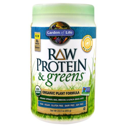 Garden of Life, Raw Protein & Greens, Organic Plant Formula, Lightly Sweet, 1.43 lbs (651 g) Review