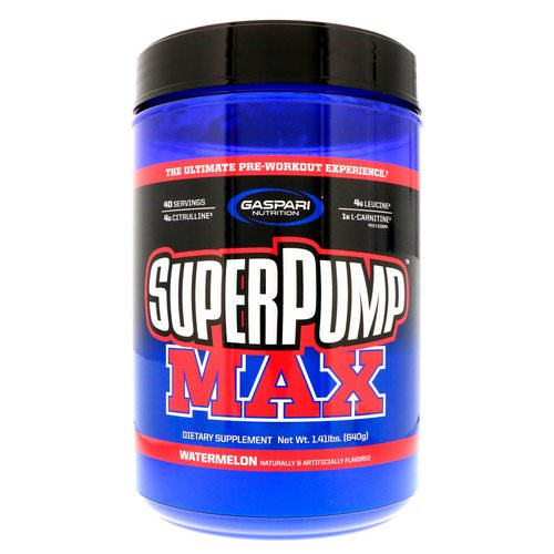 Gaspari Nutrition, SuperPump Max, The Ultimate Pre-Workout Supplement Experience, Watermelon, 1.41 lbs (640 g) Review