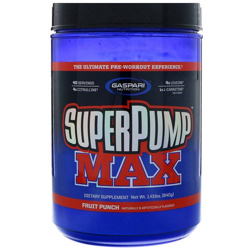 Gaspari Nutrition, SuperPump Max, The Ultimate Pre-Workout Supplement, Fruit Punch Blast, 1.41 lbs (640 g) Review