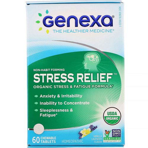 Genexa, Stress Relief, Organic Stress & Fatigue Formula, Vanilla Lavender Flavor, 60 Chewable Tablets Review