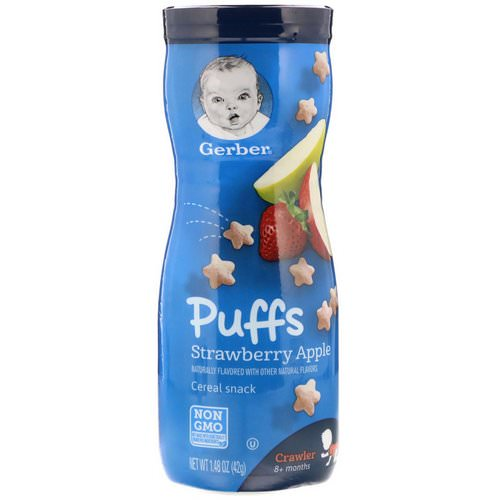 Gerber, Puffs Cereal Snack, Crawler, 8+ Months, Strawberry Apple, 1.48 oz (42 g) Review