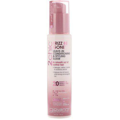 Giovanni, 2chic, Frizz Be Gone, Leave-In Conditioning & Styling Elixir, Shea Butter + Sweet Almond Oil, 4 fl oz (118 ml) Review