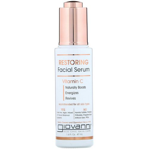 Giovanni, Restoring Facial Serum With Vitamin C, 1.6 fl oz (47 ml) Review