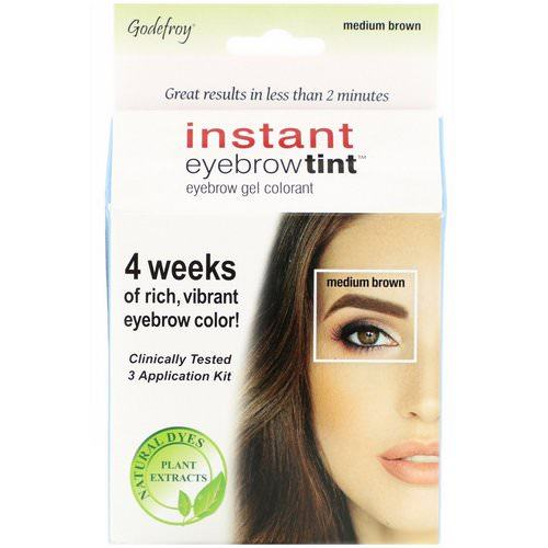 Godefroy, Instant Eyebrow Tint, Medium Brown, 3 Application Kit Review