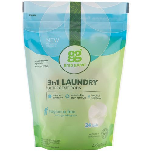 Grab Green, 3-in-1 Laundry Detergent Pods, Fragrance Free, 24 Loads, 15.2 oz (432 g) Review