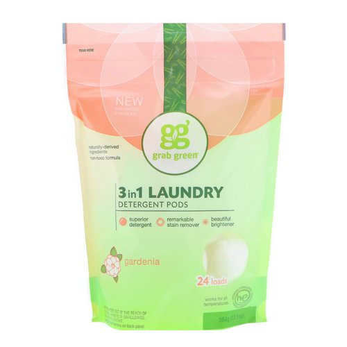 Grab Green, 3-in-1 Laundry Detergent Pods, Gardenia, 24 Loads, 13.5 oz (384 g) Review