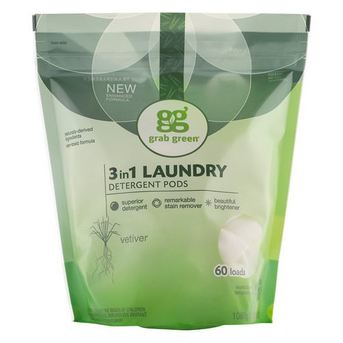 Grab Green, 3-in-1 Laundry Detergent Pods, Vetiver, 60 Loads,2lbs, 6oz (1,080 g) Review