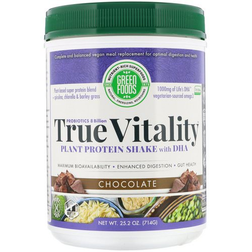 Green Foods, True Vitality, Plant Protein Shake with DHA, Chocolate, 1.57 lbs (714 g) Review