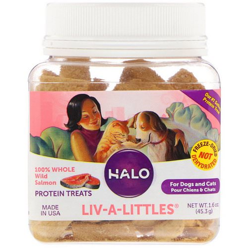 Halo, Liv-A-Littles, Protein Treats, 100% Whole Wild Salmon, For Dogs & Cats, 1.6 oz (45.3 g) Review