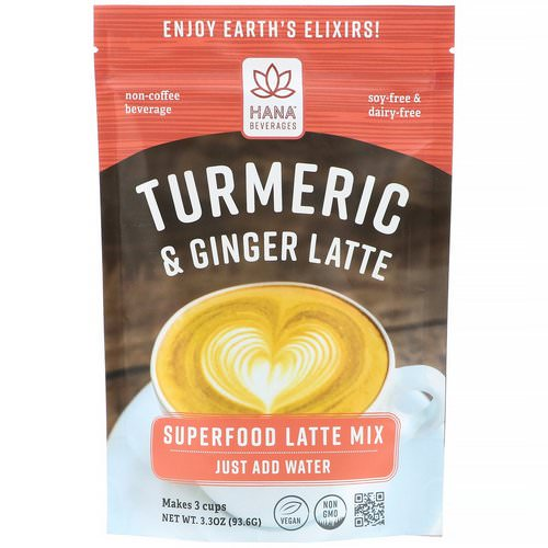 Hana Beverages, Turmeric & Ginger Latte, Non-Coffee Superfood Beverage, 3.3 oz (93.6 g) Review