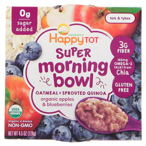 Happy Family Organics, Happy Tot, Super Morning Bowl, Oatmeal + Sprouted Quinoa, Organic Apples & Blueberries, 4.5 oz (128 g) Review