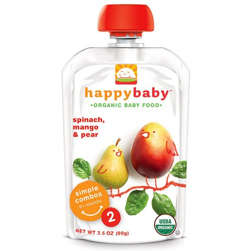 Happy Family Organics, Organic Baby Food, Stage 2, 6+ Months, Spinach, Mango & Pear, 3.5 oz (99 g) Review