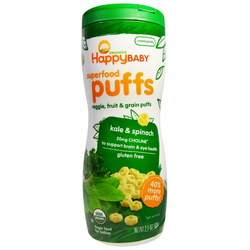 Happy Family Organics, Superfood Puffs, Veggie, Fruit & Grain, Kale & Spinach, 2.1 oz (60 g) Review