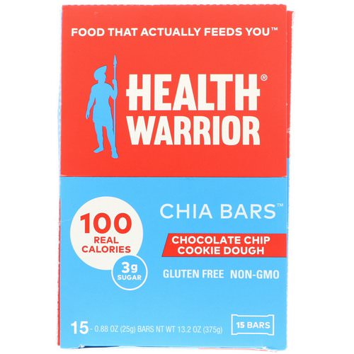Health Warrior, Chia Bars, Chocolate Chip Cookie Dough, 15 Bars, 0.88 oz (25 g) Each Review