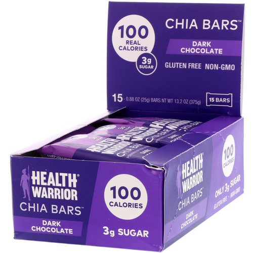 Health Warrior, Chia Bars, Dark Chocolate, 15 Bars, 0.88 oz (25 g) Each Review