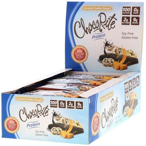 HealthSmart Foods, ChocoRite Protein Bars, Caramel Cookie Dough, 16 Bars, 1.20 oz (34 g) Each Review