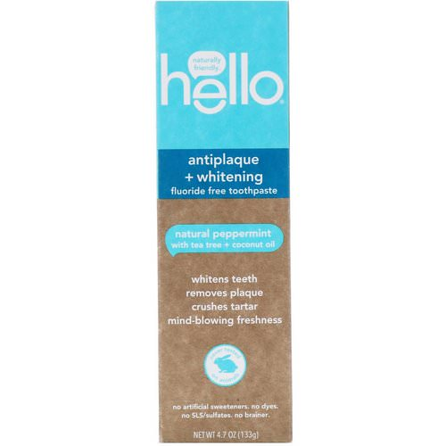 Hello, Antiplaque + Whitening Fluoride Free Toothpaste, Natural Peppermint, 4.7 oz (133 g) Review