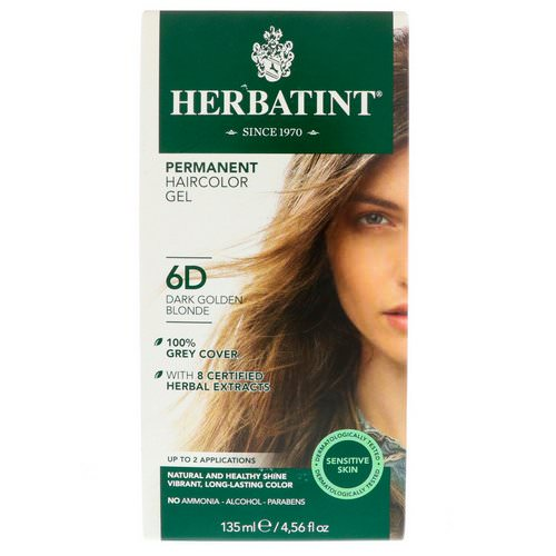 Herbatint, Permanent Haircolor Gel, 6D, Dark Golden Blonde, 4.56 fl oz (135 ml) Review
