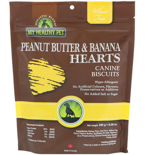 Holistic Blend, My Healthy Pet, Peanut Butter & Banana Hearts, Canine Biscuits, 8.29 oz (235 g) Review
