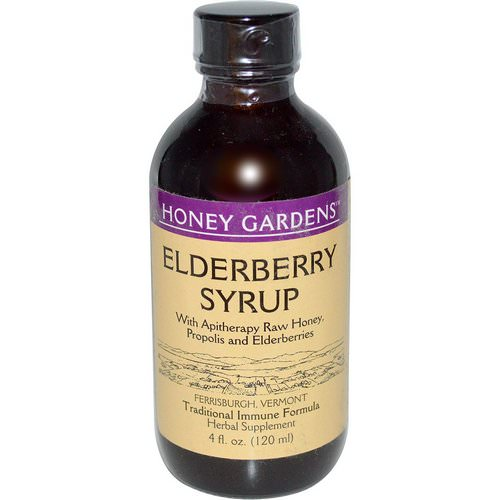Honey Gardens, Elderberry Syrup with Apitherapy Raw Honey, Propolis and Elderberries, 4 fl oz (120 ml) Review