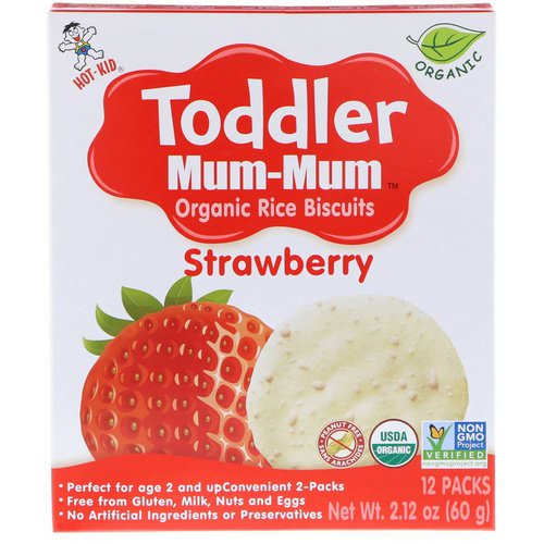Hot Kid, Toddler Mum-Mum, Organic Rice Biscuits, Strawberry, 12 Packs, 2.12 oz (60 g) Review