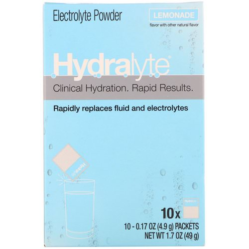Hydralyte, Clinical Hydration, Electrolyte Powder, Lemonade, 10 packets 0.17 oz (4.9 g) Each Review