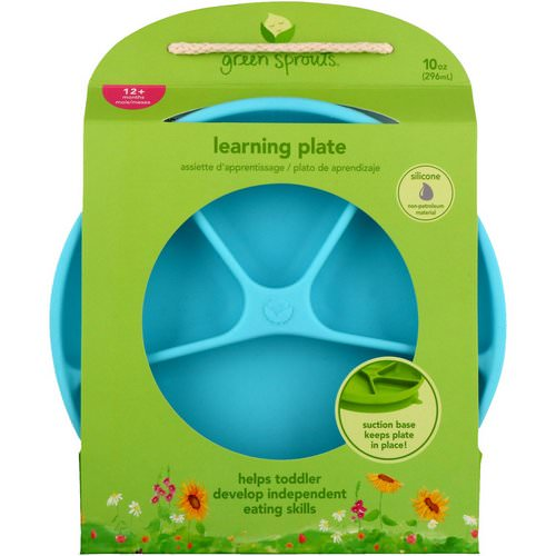 i play Inc, Green Sprouts, Learning Plate, Aqua, 12+ Months, 1 Plate, 10 oz (296 ml) Review