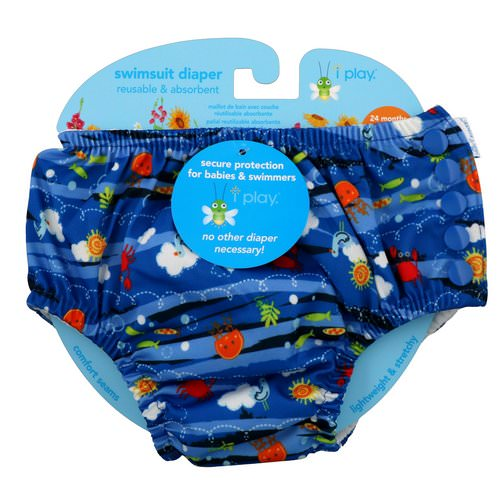 i play Inc, Swimsuit Diaper, Reusable & Absorbent, 24 Months, Royal Blue Sea Friends, 1 Diaper Review