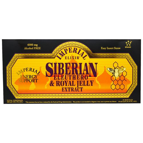 Imperial Elixir, Siberian Eleuthero & Royal Jelly Extract, Alcohol Free, 4000 mg, 30 Bottles, 0.34 fl oz (10 ml) Each Review