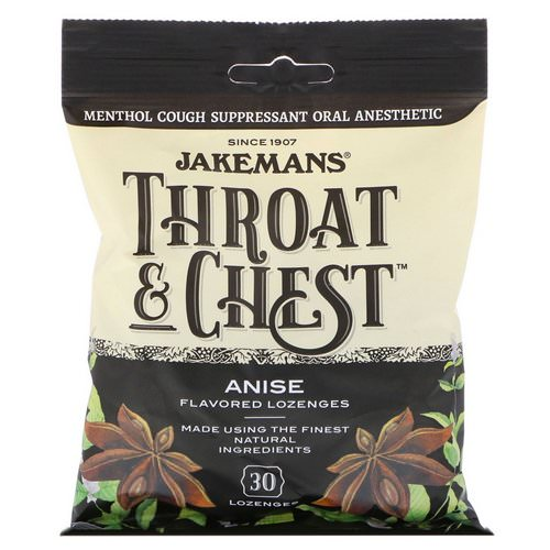 Jakemans, Throat & Chest, Anise Flavored, 30 Lozenges Review