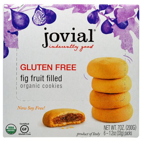 Jovial, Organic Cookies, Fig Fruit Filled, 6 Packs, 1.2 oz (33 g) Each Review