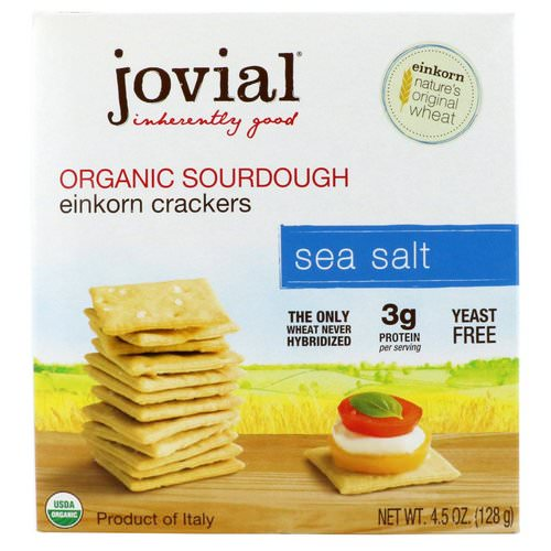 Jovial, Organic Sourdough Einkorn Crackers, Sea Salt, 4.5 oz (128 g) Review