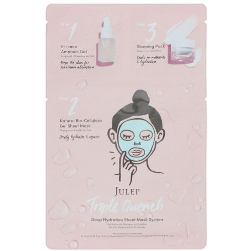 Julep, Triple Quench, Deep Hydration Sheet Mask System, 1 Mask Review