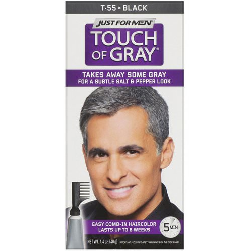 Just for Men, Touch of Gray, Comb-In Hair Color, Black T-55, 1.4 oz (40 g) Review