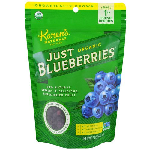 Karen's Naturals, Organic Just Blueberries, Freeze-Dried Fruit, 2 oz (56 g) Review