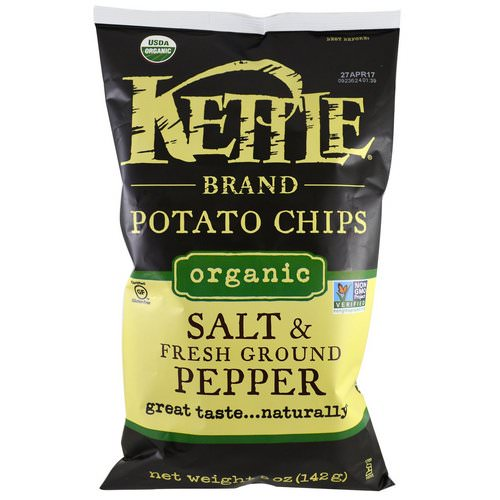 Kettle Foods, Organic Potato Chips, Salt and Fresh Ground Pepper, 5 oz (142 g) Review