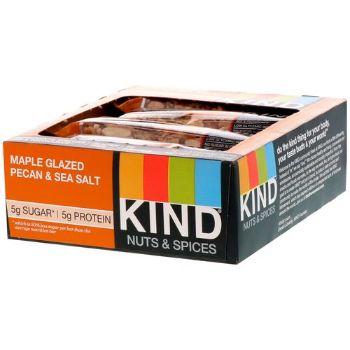 KIND Bars, Nuts & Spices, Maple Glazed Pecan & Sea Salt, 12 Bars 1.4 oz (40 g) Each Review