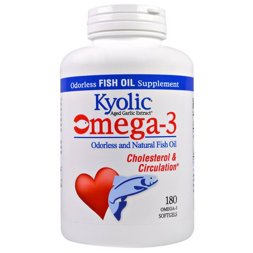 Kyolic, Omega - 3, Odorless and Natural Fish Oil, 180 Omega-3 Softgels Review