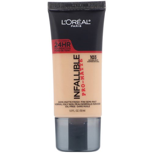 L'Oreal, Infallible Pro-Matte Foundation, 103 Natural Buff, 1 fl oz (30 ml) Review