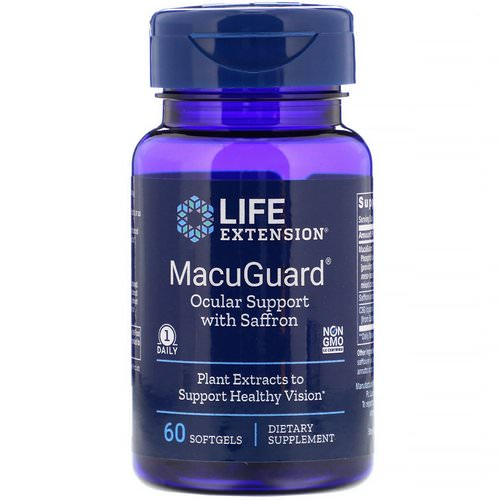 Life Extension, MacuGuard, Ocular Support with Saffron, 60 Softgels Review