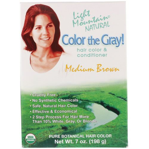 Light Mountain, Color the Gray! Natural Hair Color & Conditioner, Medium Brown, 7 oz (198 g) Review