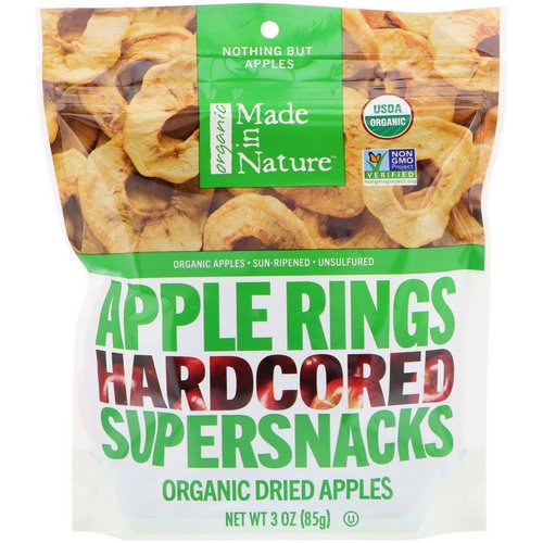 Made in Nature, Organic Dried Apple Rings, Hardcored Supersnacks, 3 oz (85 g) Review