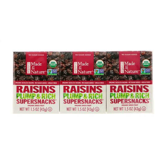 Made in Nature, Organic Dried Raisins, Plump & Rich Supersnacks, 6 Pack, 1.5 oz (42 g) Each Review